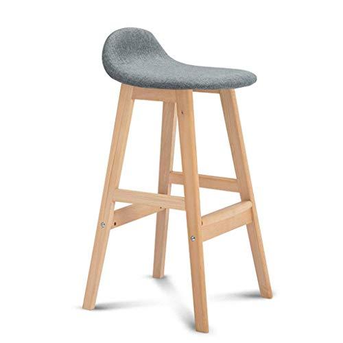QTQZDD 4 houten poten maximale belasting 150 kg zithoogte 68 cm barkruk voetsteun kruk met linnen rugleuning eetkamerstoelen voor ontbijt bar keuken Pub CAF & Eacute; (kleur: rooster) 5 5