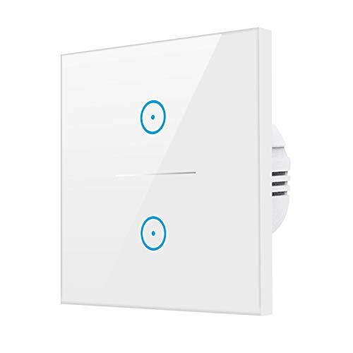 WLAN Smart Lichtschalter,KOAANW 2 Weg SmartHome Touch Wandschalter Kompatibel mit Alexa[Echo,Echo dot], Google Home&IFTTT Kompatibel,Timer Funktion,Kein Hub erforderlich,86mm×86mm 100-240V