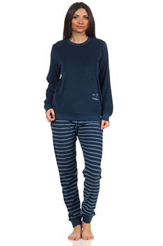 RELAX by Normann Damen Frottee Pyjama mit Bündchen - Hose gestreift, Top mit Mond Applikation - 212 13 800, Farbe:Marine, Größe:40-42
