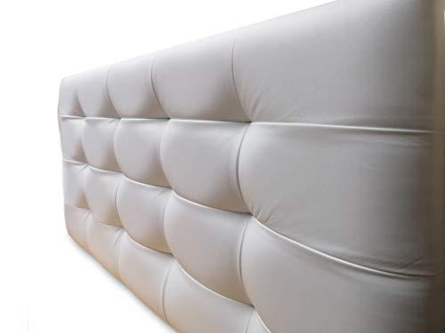 Cabecero Cama tapizado en Polipiel Mod. Diamante (Blanco, 150x62)