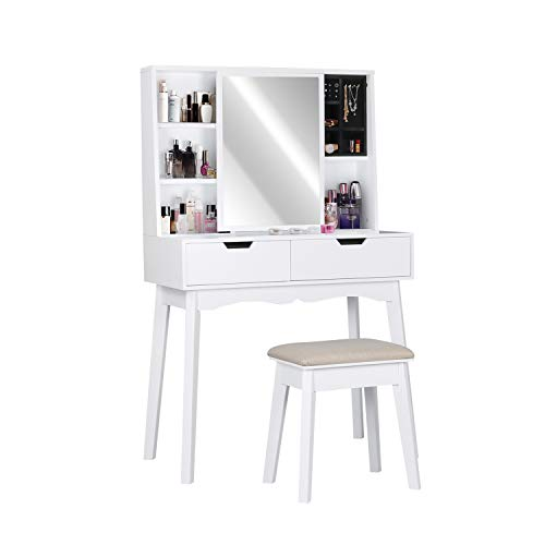 LYNSLIM White Vanity Table Set with Mirror and Makeup Organizer Dressing Table,2 Large Drawers with Sliding Rails,Storage Shelves,Jewelry Box,Cushioned Stool,Makeup Vanity Desk