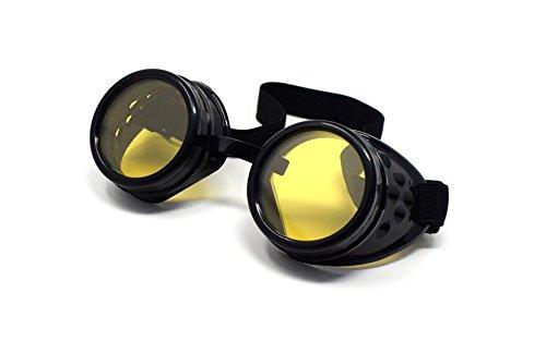 UltraByEasyPeasyStore Ultra Schwarz mit Gelben Linsen Steampunk Brille Gläsern Cyber Viktorianischer Punk Schweißen Cosplay Goth Round Niet Vintage Rave Neuhei