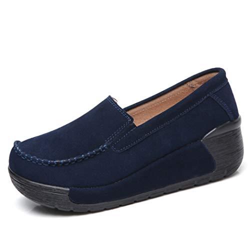 Primavera Otoño Zapatos De Cuña De Plataforma para Mujer Mocasín De Ante Mocasín De Punta Redonda Slip On Mocasines Zapatos De Muffin Transpirables Y Cómodos