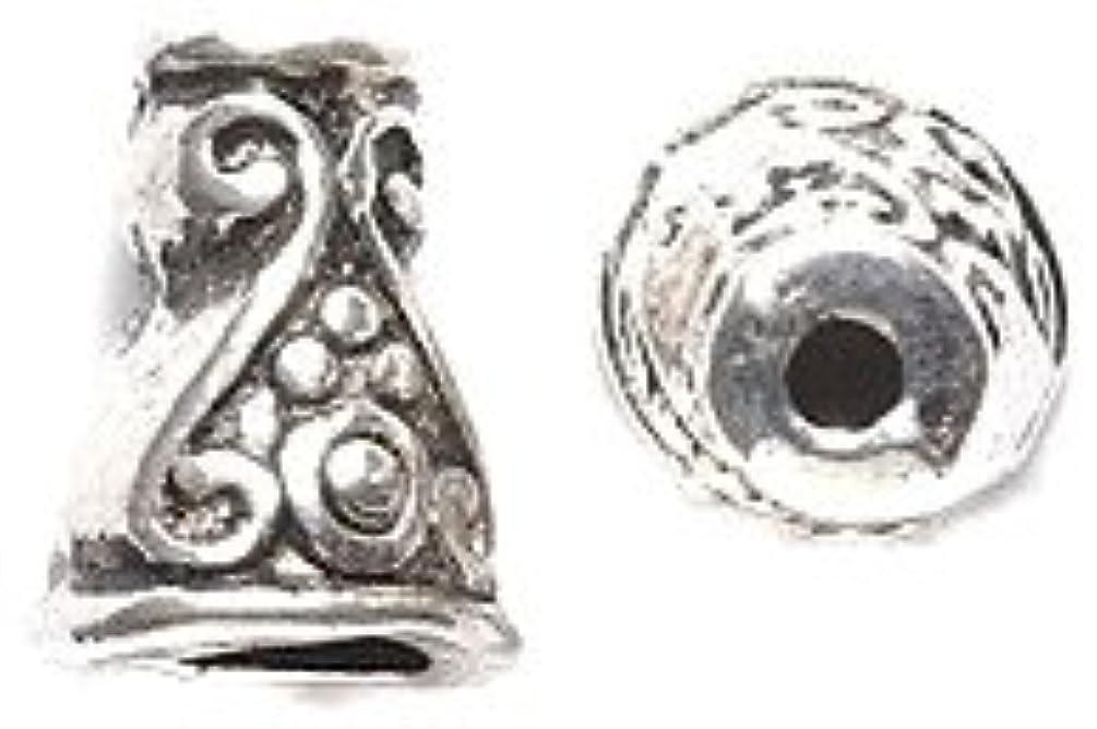 Shipwreck Beads Zinc Alloy Scroll Design Bead Cone/Cap, 7mm x 10mm, Silver