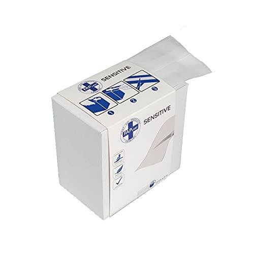 HierBeiDir Sensitive Wundschnellverband, elastisch, luftdurchlässig, hautfreundlich, hypoallergen, latexfrei, 1 Stück, Wundpflaster (6 cm x 5 m)