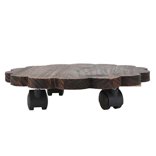 Hemoton Macetero con ruedas de madera, tabla para flores, rodillo para plantas, soporte para plantas, soporte para macetas, soporte para macetas para interior y exterior, jardín, decoración de 25 cm