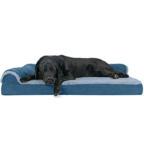 Furhaven Pet Dog Bed - Deluxe Orthopedic Two-Tone Plush and Suede L Shaped Chaise Lounge Living Room Corner Couch Pet Bed with Removable Cover for Dogs and Cats, Marine Blue, Jumbo