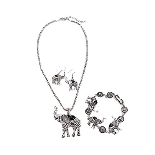 Pendientes 3 unids/set B-ohemian exagerados hechos a mano turquesa elefante colgante collar pulsera pendientes