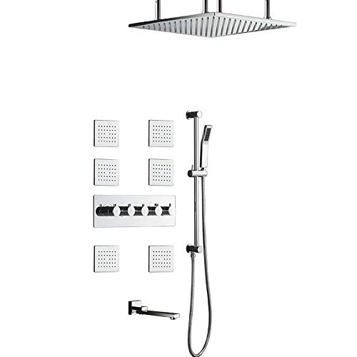 Read About Square Top Spray in-Wall Concealed Thermostatic Shower Copper Shower Copper Lifting Rod 5...