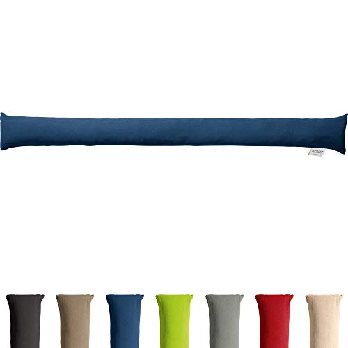 REDBEST Zugluftstopper - Türstopper - Windstopper - Luftzugstopper - Windschutz - für Fenster und Türen - Premium-Qualität - mit Beschwerung - dunkelblau - Größe 90x10 cm