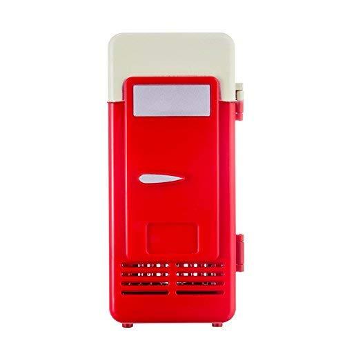 SHKUU Mini frigorífico USB y Calentador USB Cerveza Latas de Bebidas Latas de Nevera Calentador más frío para Bebidas frías/Calientes-Rojo