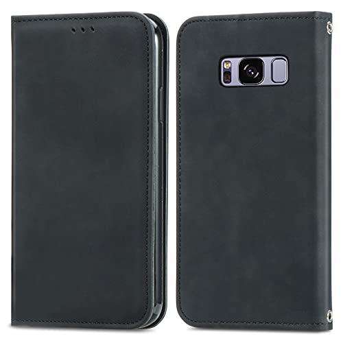 ZHANGHUI Funda protectora con tapa para Samsung Galaxy S8, cierre magnético, funda de piel con ranuras para tarjetas, cubierta de protección (color negro)