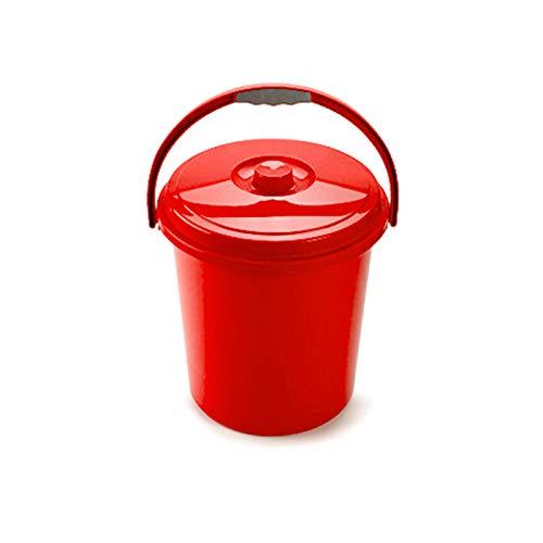 Cubo Basura Eco Redondo con Tapa y Asa 21 Litro 37 x 34 x 40 cm Disponible Rojo Azul Verde elegir color que te más gusta (Rojo)