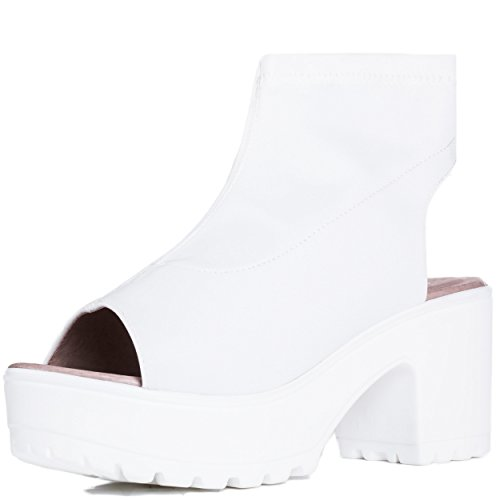 Open Peep Toe Block Heel Ankle Boots Shoes White Stretch Sz 6