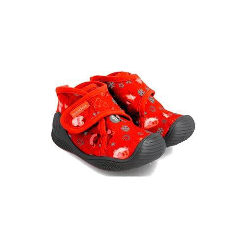 Zapatilla de estar por casa para bebé de invierno Biomecanics rojo estampado 211165C, talla 24 EU
