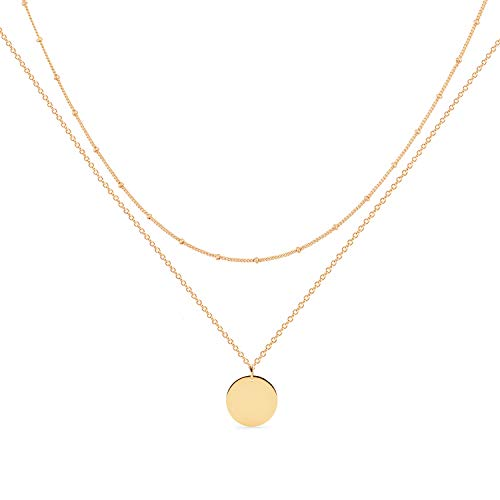 Gold Layered Necklace,14K Gold Disc/Circle Bead Chain Dainty Elegant Simple Layer Necklace for Women