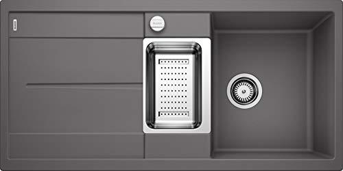 BLANCO METRA 6 S – Rechteckige Granitspüle für die Küche – für 60 cm breite Unterschränke – Mit Restebecken und Edelstahlschale – aus SILGRANIT – grau – 518877