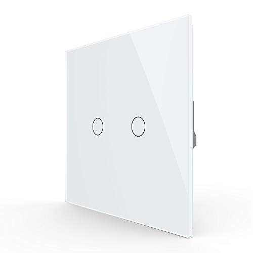 LIVOLO Light Switch 2 Gang with White Tempered Glass Plate, Double Touch Light Switch,VL-C50101-11