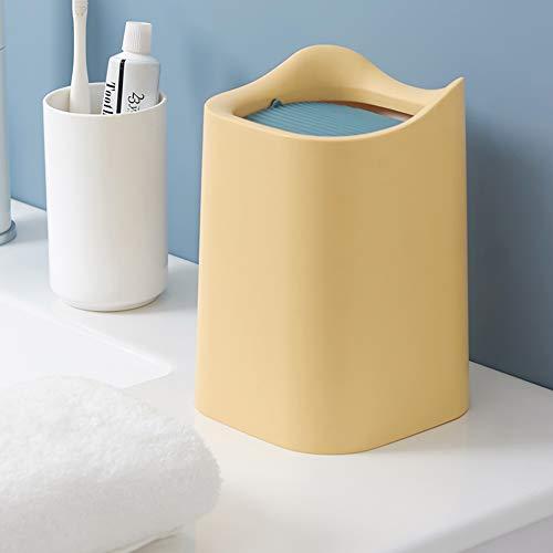 MEEQIAO Mini papelera con 150 bolsas de basura para oficina, dormitorio, coche, escritorio, papelera con tapa y mesa (amarillo)