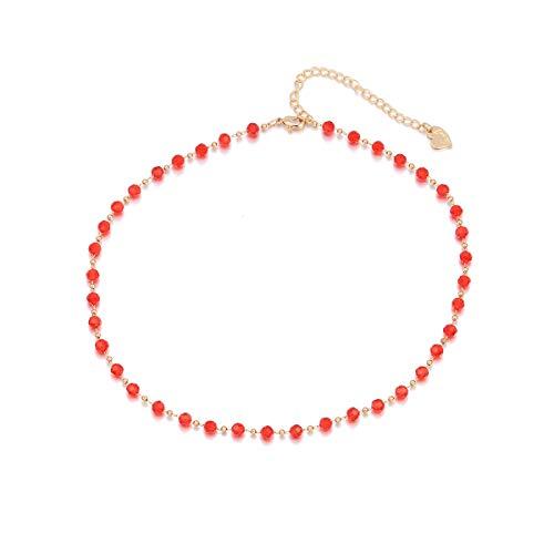 Ouran, Collana girocollo da donna, multicolore con ciondolo a catena lunga, ideale come regalo per ragazze, mamma, amiche e Lega, colore: Perline rosse., cod. XL-0724