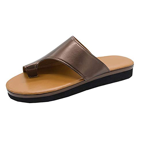 Mltdh Big Toe Foot Correction Sandale mit orthopädischer Ballenzeh-Korrektur Bequeme Plattform, Flache Sohle für Frauen PU,C,40