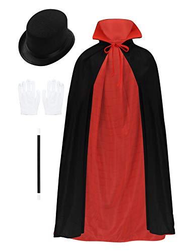 CHICTRY Jungen Zauberer Kostüm Zubehör Set Kinder Magier Kinderkostüm Umhang + Handschuhe + Zauberstab + Hut Cosplay Outfits für Halloween Schwarz & Rot Einheitsgröße