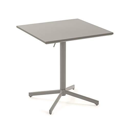 Kave Home Alyssia - Mesa de comedor cuadrada 70 x 70 cm, acero para uso interior y exterior