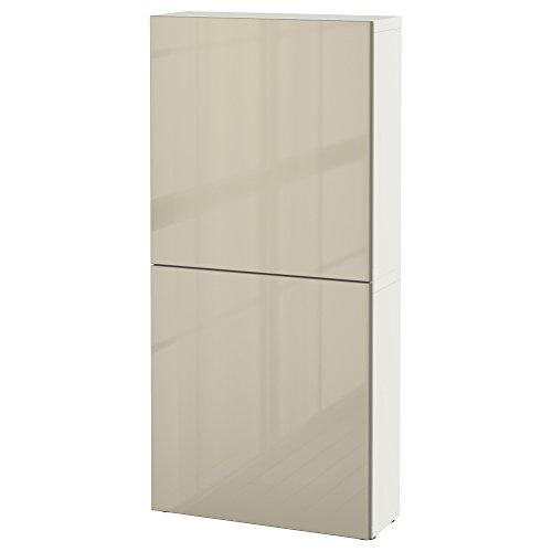 IKEA BESTA–Wandschrank mit 2Türen weiß/selsviken Hochglanz/Beige