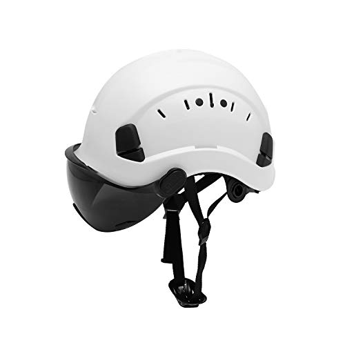 LOHASPRO Safety Hard Hat  Adjustable ABS Helmet with Visor  6Point Suspension Perfect for Construction Smoke Visor