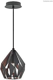 Eglo Carlton 3 Matte Black and Copper Seven-Inch One-Light Mini Pendant