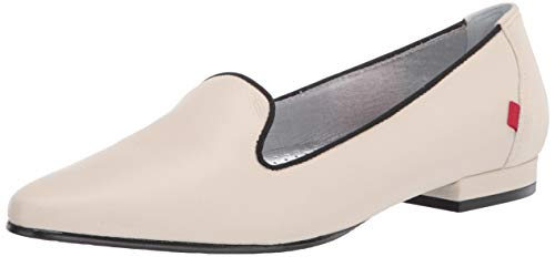 MARC JOSEPH NEW YORK Damen Flache Leder mit Raucher-Slipper Detail Loafer, Weiá (Creme Nappa Soft), 37.5 EU