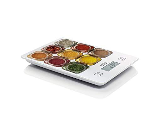 Laica KS1040 Bilancia da Cucina Elettronica, Vetro Temperato, Tasti Touch Sensor, 5 kg