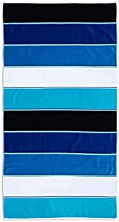 "Caro Home Maya Beach Towel (Navy) - 100% Cotton Premium Quality X-Large Maya Striped, Navy, White, Black, Blue, Teal, Turquoise, 36"" x 68"" Thick and Plush Combed Cotton 410 GSM"