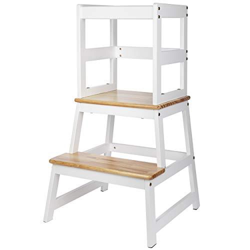 ONVAYA® Lernturm für Kinder | Learning Tower | Stehhocker | Helferturm | Lernstuhl aus Holz | Weiß