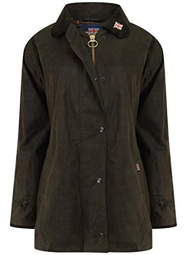 Nicky Adams Countrywear Damen Wachsjacke, wasserdichte gewachste Baumwolle, Reitsport mit Belüftungsöffnungen Gr. 36, olivgrün