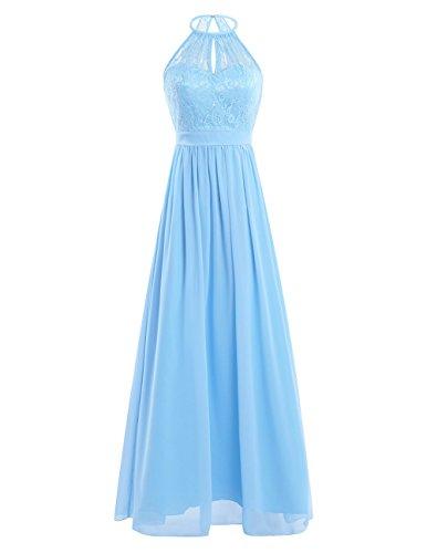 iEFiEL Damen Kleider Elegant festlich Hochzeit Sommer Kleider Lang Chiffon Abendkleid Neckholder Party Kleid Cocktailkleid Gr. 36-46 Hell Blau 36-38