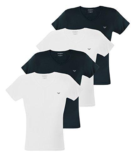 Emporio Armani Herren T-Shirts V-Neck Stretch Cotton Kurzarm 111512-CC717 4er Pack, Farbe:Mehrfarbig, Menge:4er Pack (2X 2er), Größe:XL, Artikel:-10410 White/Marine