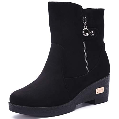 Damskie buty zimowe outdoorowe śniegowce z ciepłą podszewką, buty zimowe antypoślizgowe buty 35-41EU, czarny - czarny - 35.5 eu