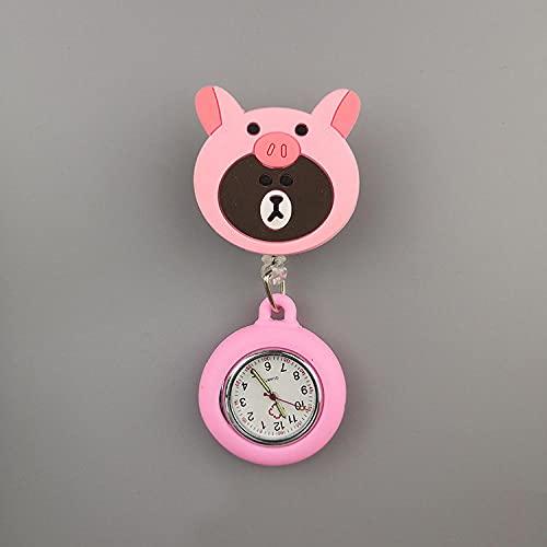 LLRR Reloj de Enfermera Fob,Regalo práctico Mini Reloj de Bolsillo portátil, Reloj de Pecho de Enfermera Extensible-Oso de la Hermana,médico Reloj de Bolsillo de Cuarzo
