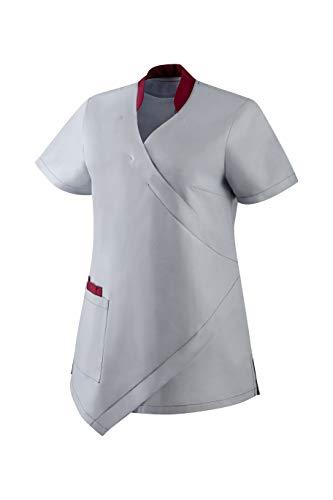Clinotest Damen-Schlupfkasack Wickeloptik, 1/4 Arm, V-Ausschnitt, 1 Seitentasche mit integrierter Handytasche, im Kragen vorne ist EIN verdeckter Druckknopf (2XL)