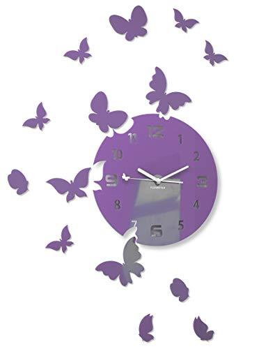 FLEXISTYLE Große Moderne Wanduhr Schmetterling rund 30cm, 15 Schmetterlinge, Wohnzimmer, Schlafzimmer, Kinderzimmer, Produkt in der EU hergestellt (Lila (Milka))