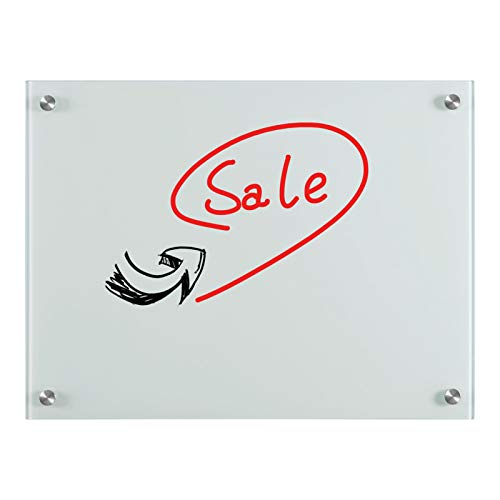 Glass Dry Erase Board 24 x 18 Inches, Magnetic Glass Whiteboard 2' x 1.5', with 1 Pen Tray
