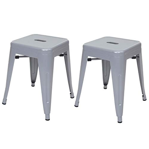 2X Hocker HWC-A73, Metallhocker Sitzhocker, Metall Industriedesign stapelbar ~ grau
