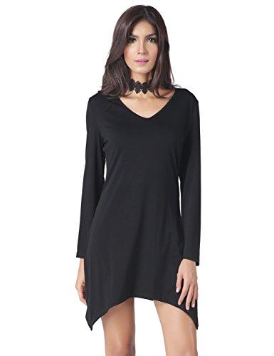 DUBACH Women 's Basic V-Neck Long Sleeve Irregular Hem Wine Red Loose Dress(Black,S)