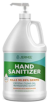 Jermee Moisturizing Hand Sanitizer Gel, 70% Alcohol - Kills Germs Without Soap & Water - Crystal Clear Gel, Refreshing Scent, Made in USA - with Easy to Use Pump, 1 Gallon