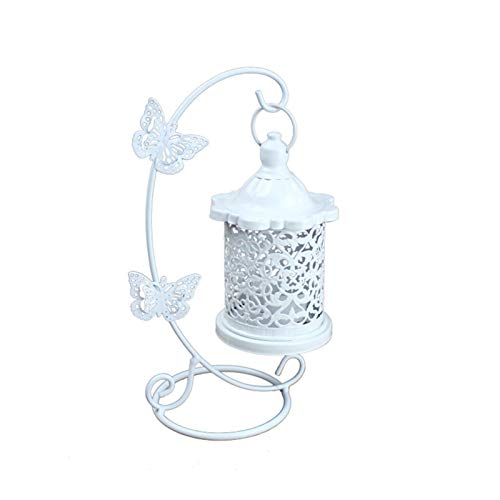 HUMINGG portavelas Candlestick Hueco Lámpara de té de la luz de la Vela Colgando Linterna Birdcage Retro Forjado Gancho Candelabajo Lámpara de Mesa Decoración (Color : A)