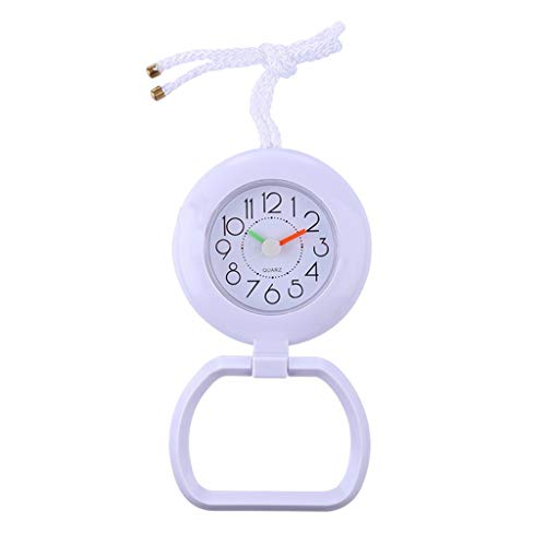 F Fityle Wasserdicht Wanduhr Badezimmeruhr Baduhr Küchenuhr Duschuhr Saugnapf Uhr mit Handtuchring - Weiß