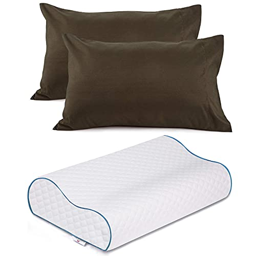 Power of Nature Memroy Foam Pillow 1pcs + Queen Pillowcase Set of 2