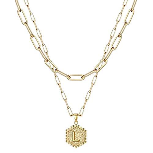 XPT Collar con Colgante para Mujer, Impermeable, Multiusos, Brillante, con Letras, Collar En Capas De Oro para Regalo del Día De San Valentín L