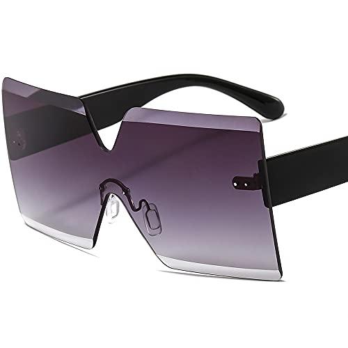 TTWLJJ Gafas de sol sin montura con protección UV para mujer, ideal para conducir, pesca, ciclismo, correr, color gris